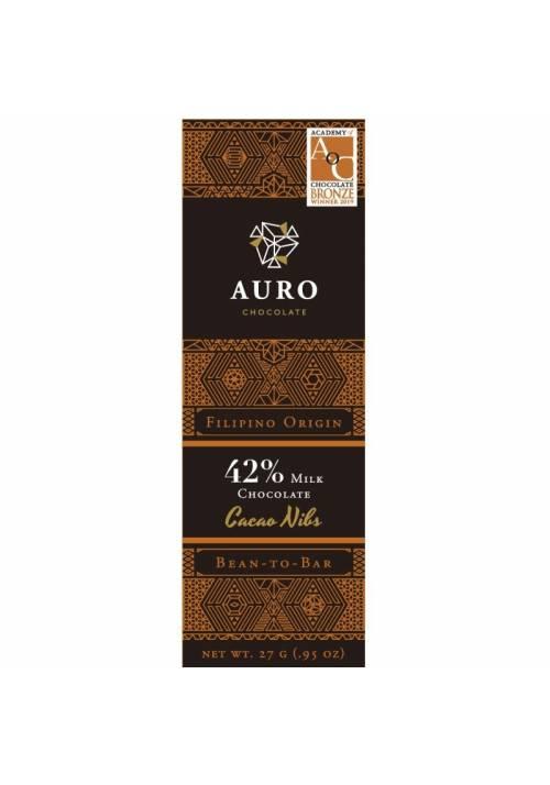 Auro mleczna czekolada 42% z nibsami