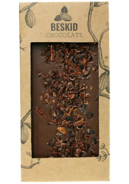 Mleczna czekolada z nibsami (śrutą kakaową, kawałkami prażonych ziaren kakao) - Beskid Chocolate