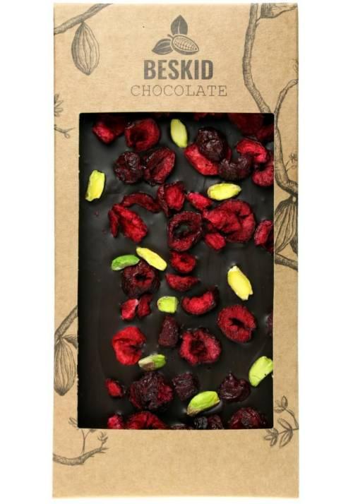 Ciemna czekolada z wiśniami i pistacjami - Beskid Chocolate