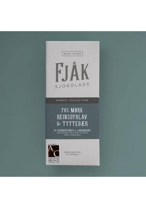 Fjåk Sjokolade Ciemna 70% z chrobotkiem reniferowym i borówką brusznicą