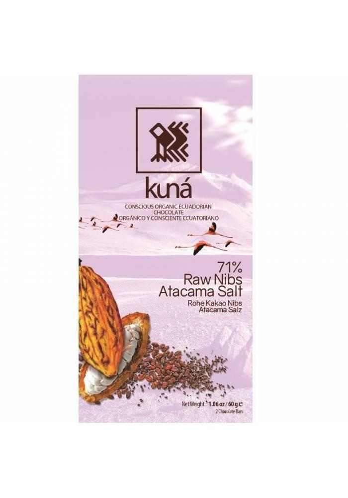 Kuná 71% Raw Cacao Nibs Atacama Salt 60g