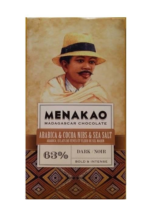 Menakao 63% czekolada z kawą Arabica, nibsami kakao i solą morską