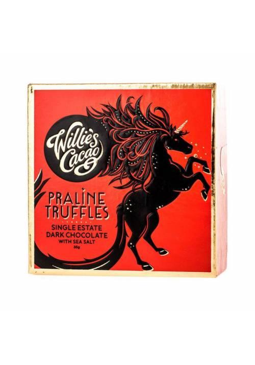 Willie's Cacao Ciemne orzechowe trufle z solą morską (małe opakowanie)