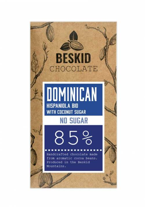 Beskid Dominikana Hispaniola 85% z cukrem kokosowym