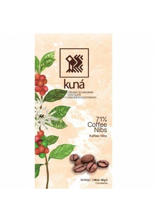 Kuná 71% Coffee Nibs (z ziarnami kawy) 60g