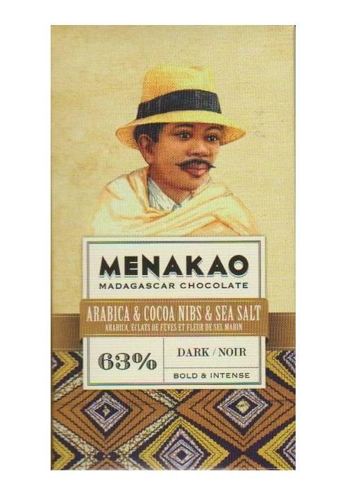 Menakao 63% z kawą arabica, nibsami kakao i solą morską - wersja mini 25g
