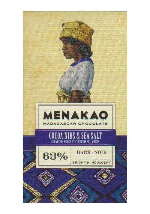 Menakao 63% z nibsami kakao i solą morską - wersja mini 25g